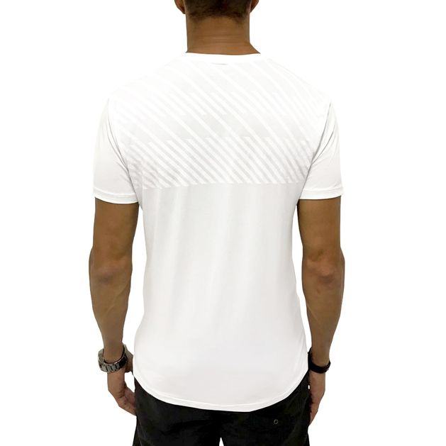 Camiseta Dry Fit Listras Back Branca - usebora 6482a59c59db9