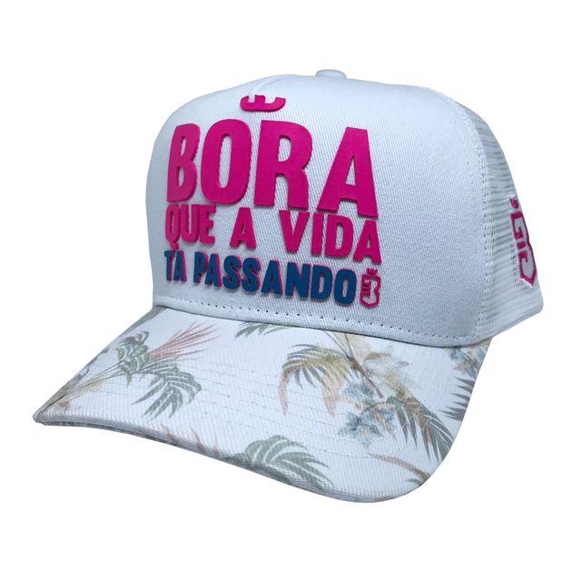Boné Trucker Bora Floral Branco Rosa - usebora f8330edad68