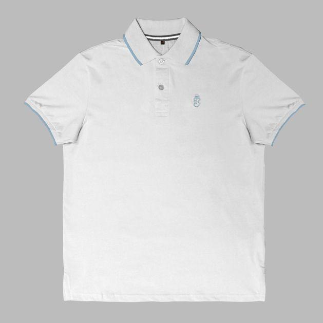 e53fd41a3 Camisa Básica Pólo Branco Azul Claro - usebora