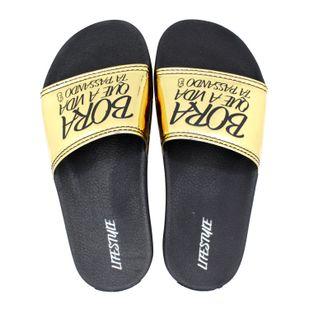 9d5f55b4a Chinelo Slide Bora Dourado